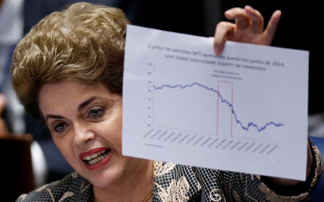 Dilma mostra gráfico durante julgamento do impeachment no Senado