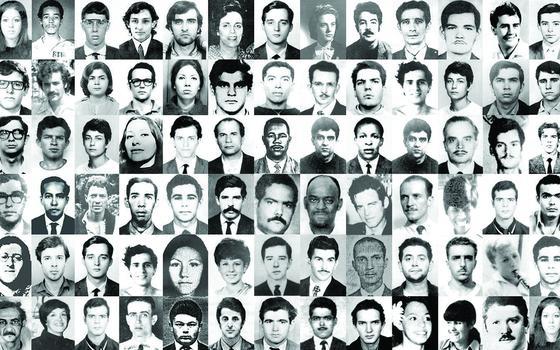 Muitas fotos 3x4 em preto e branco organizadas lado a lado de tipos diferentes de pessoas, mulheres e homens, a maioria jovens