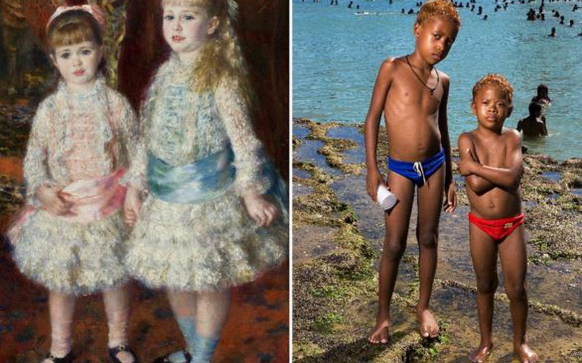 """""""Rosa e Azul"""", de Renoir (1881) está ao lado de uma fotografia de Barbara Wagner, de 2005"""