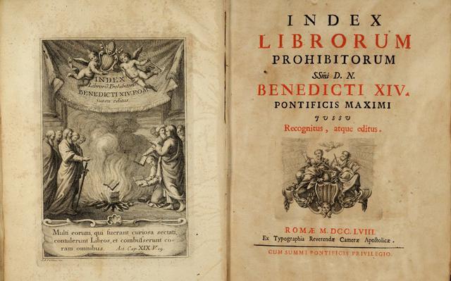 Edição do Index Librorum Prohibitorum, publicado em 1758