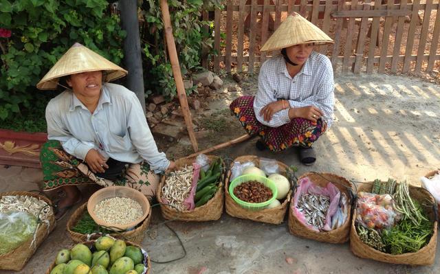 Produtores vendem alimentos agrícolas e de pesca