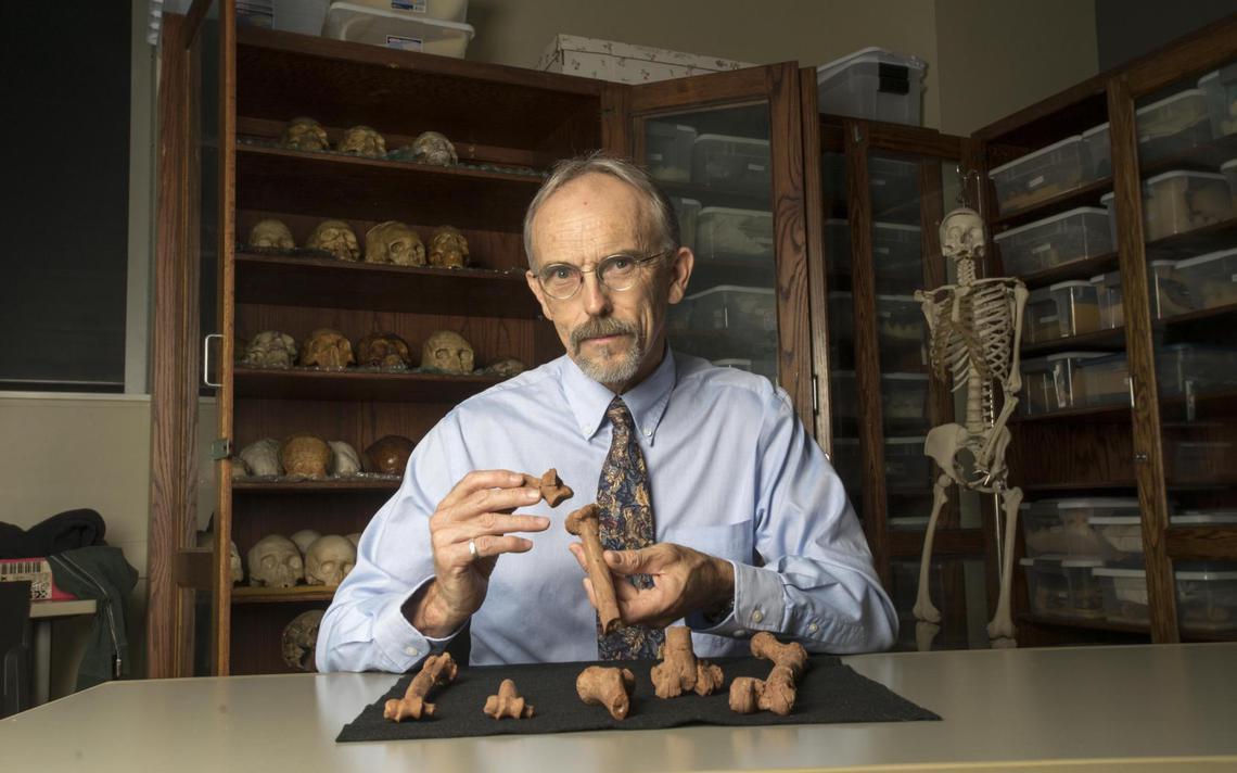 O professor John Kappelman com as impressões em 3D do esqueleto de Lucy, o mais conhecido ancestral do ser humano