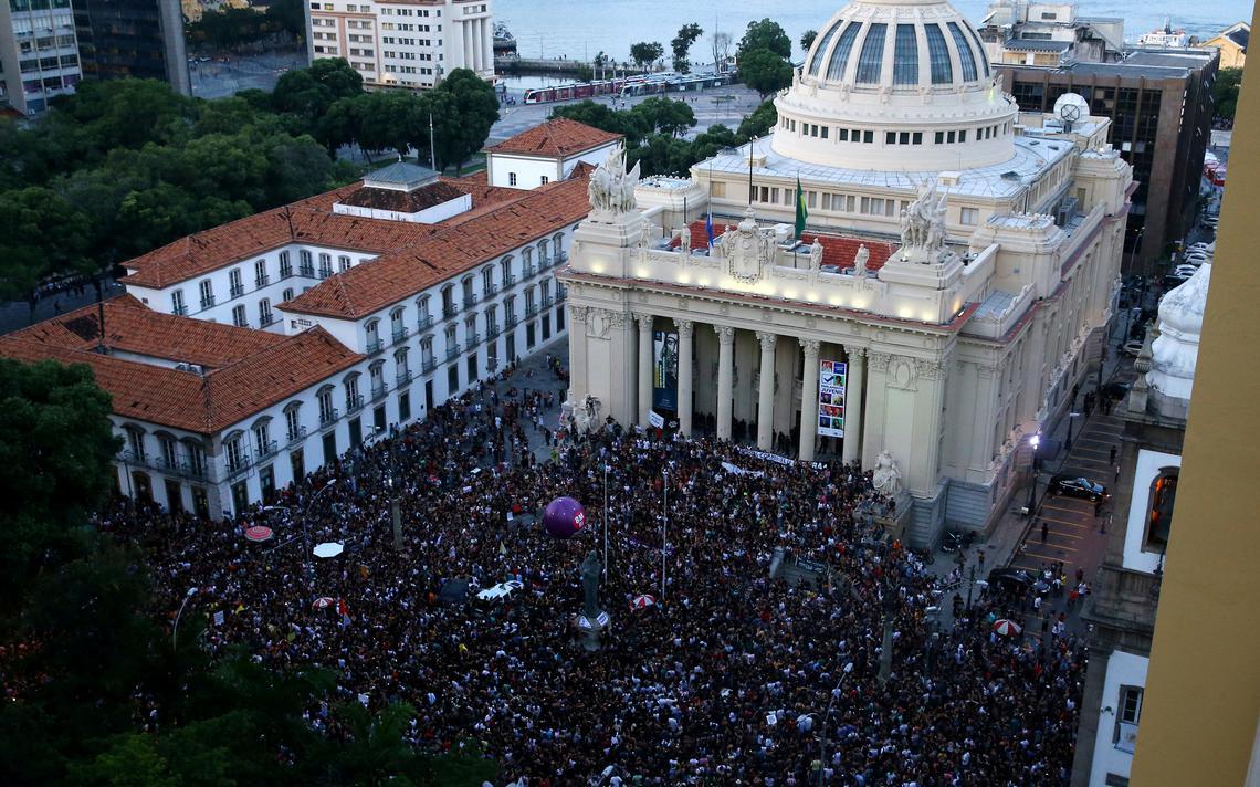 Ato em homenagem à vereadora do Rio, Marielle Franco