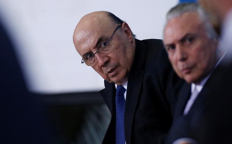 Henrique Meireles, e presidente Michel Temer durante encontro com empresários em Brasília