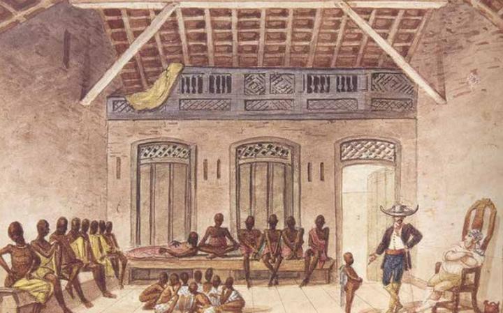 Mercado da Rua do Valongo, em pintura de Jean-Baptiste Debret, 1816-1831