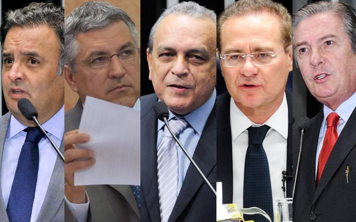 Aécio Neves, Alexandre Padilha, Sérgio Guerra, Renan Calheiros e Fernando Collor de Mello