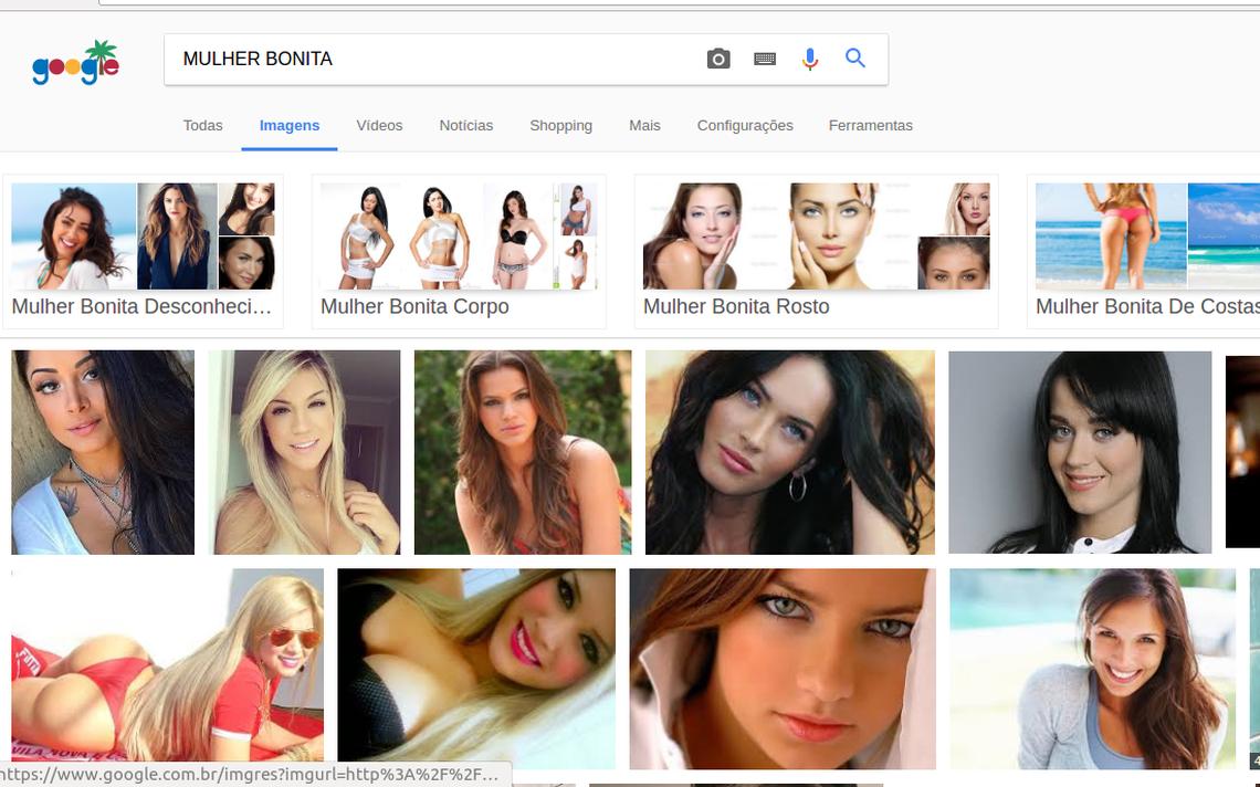 Busca por 'mulher bonita' no Google: resultados em português mostram mulheres brancas