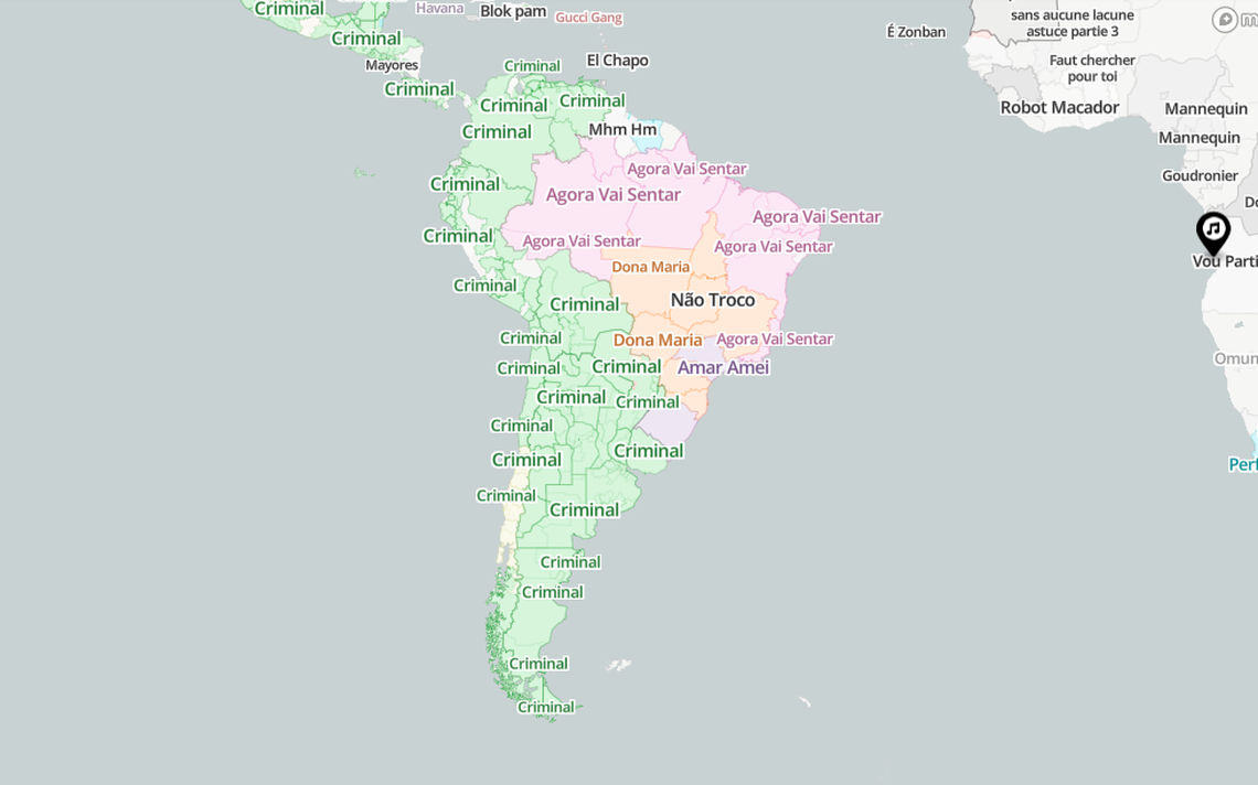 Mapa mostra as músicas mais tocadas no YouTube em 3.000 cidades no mundo
