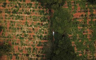 Imagem aérea mostra terreno do cemitério da Vila Formosa. No centro da imagem, há uma área com árvores. Do lado esquerdo e direito, é possível ver centenas de covas abertas durante a pandemia