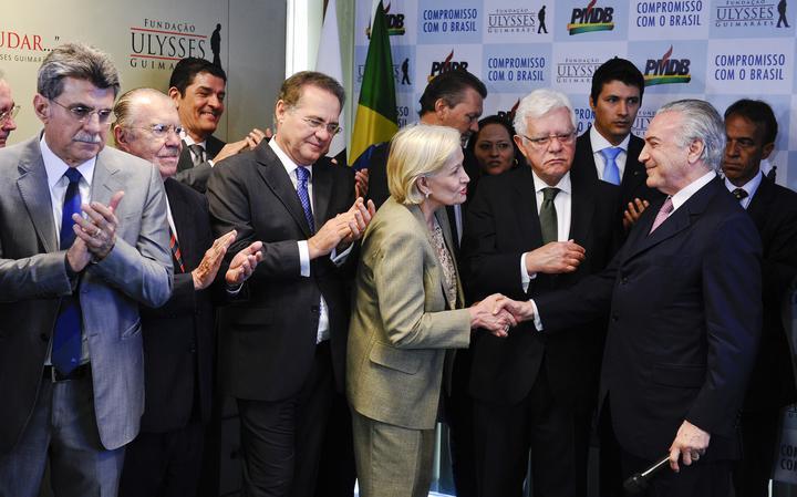 Membros do Senado, Romero Jucá, José Sarney e Renan Calheiros comparecem a evento do PMDB