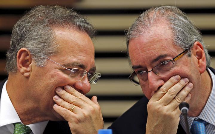 Renan e Cunha conversam durante evento em SP