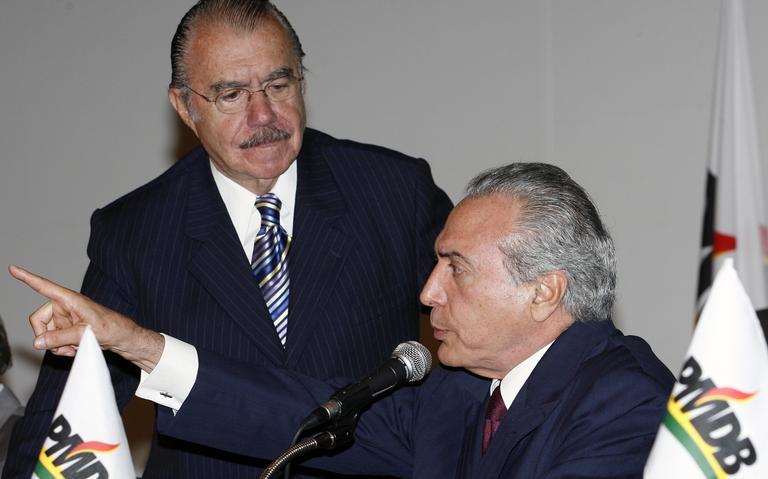 Sarney e Temer durante encontro do PMDB em Brasília