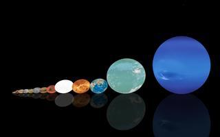 Planetas posicionados lado a lado, em ordem crescente