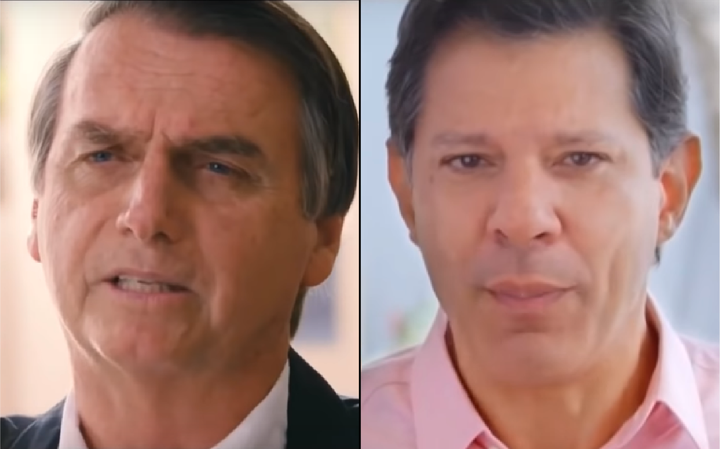 Bolsonaro e Haddad em seus respectivos programas de TV