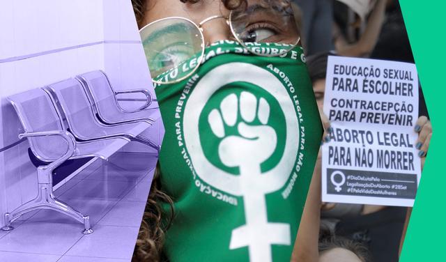 """montagem de imagens: à esquerda, cadeiras em sala de espera de clínica médica, no centro, mulher usa lenço verde com dizeres: """"educação sexual para prevenir"""" e """"aborto legal para não morrer"""", à direita panfleto com dizeres """"Educação sexual para escolher. Contracepção para prevenir. Aborto legal para não morrer. Dia de luta pela legalização do aborto""""."""