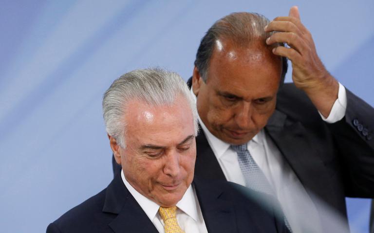 O presidente Michel Temer e o governador do Rio, Luiz Fernando Pezão, após o anúncio da intervenção federal
