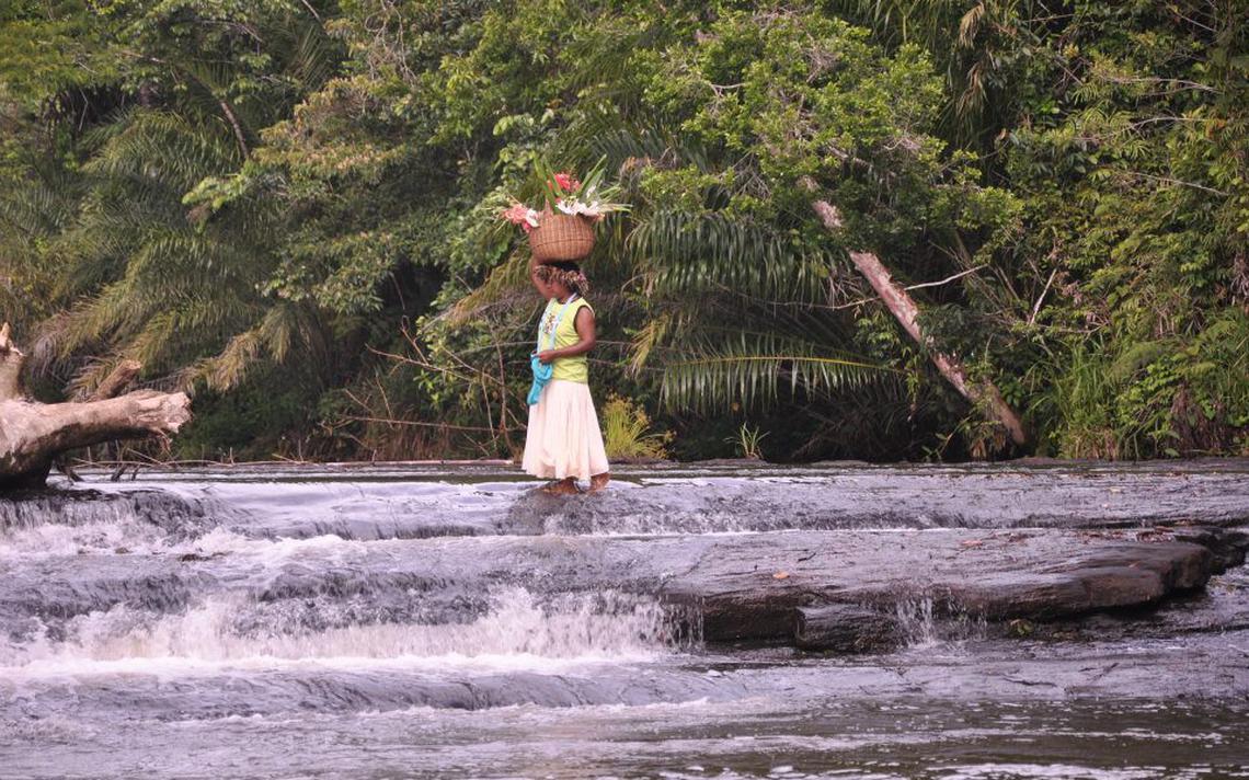 Indígena Tupinambá cruzando rio