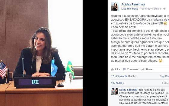 Youtuber se diz embaixadora da ONU. Mas não é bem isso