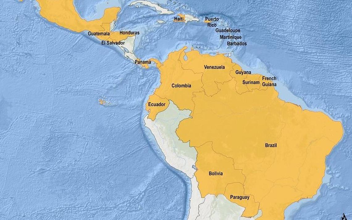 Mapa da Organização Panamericana de Saúde mostra a incidência de zika na América Latina