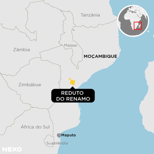 Mapa mostra a localização de Moçambique