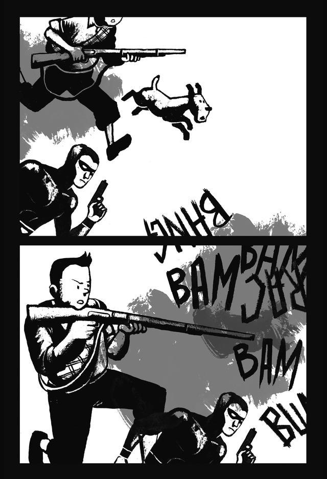 Personagem Tintim, da HQ As aventuras de Tintim, empunha arma e atira