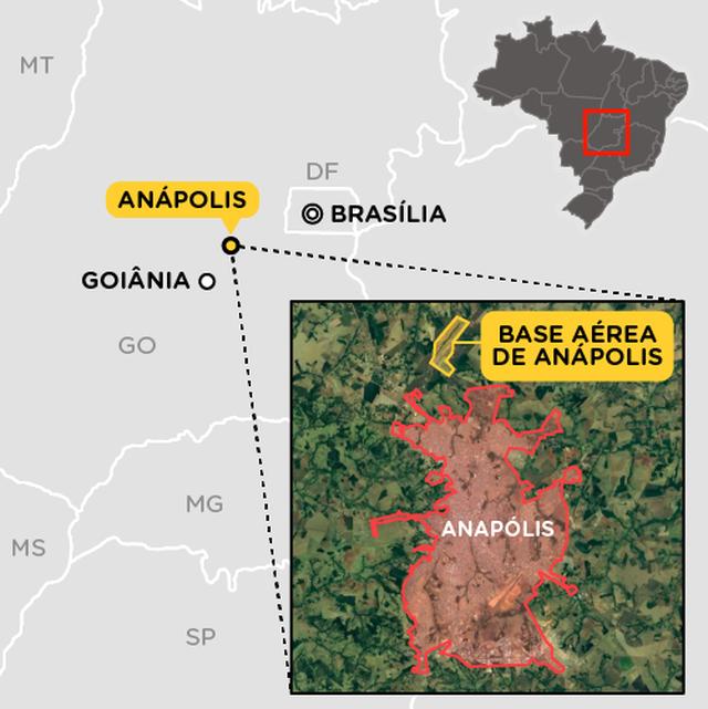 Mapa da região de Goiânia com destaque para a cidade de Anápolis em vermelho. No noroeste, em amarelo, base aérea de Anápolis