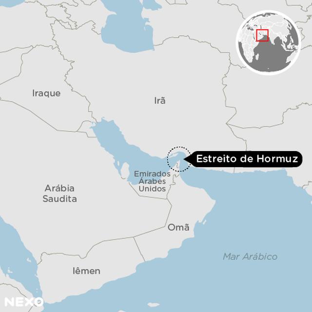 Gráfico mostra a localização do Estreito de Hormuz