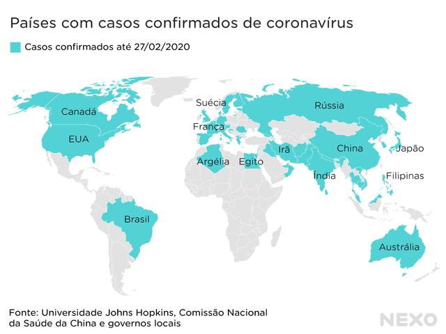 Mapa com os países com pelo menos um caso confirmado de coronavírus. Até 27 de fevereiro, eram 47 países