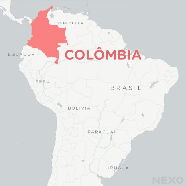 Mapa mostra localização da Colômbia