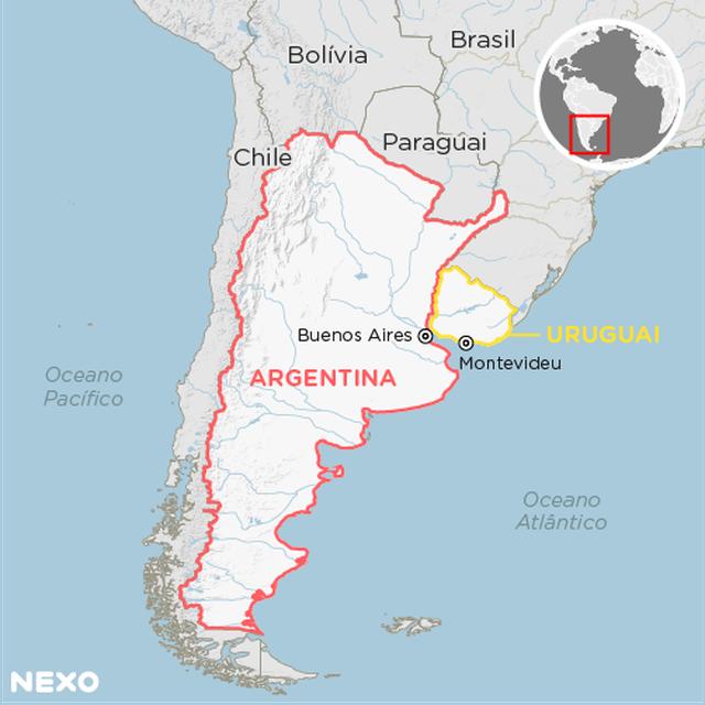 Mapa mostra a localização da Argentina e do Uruguai