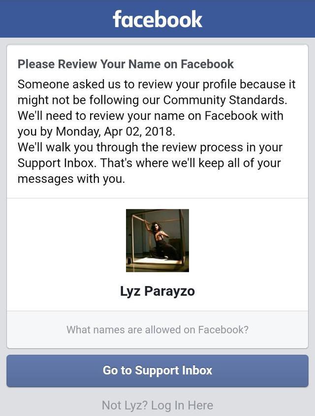 Mensagem em que o Facebook afirma que Lyz foi denunciada por não seguir os 'padrões de comunidade'