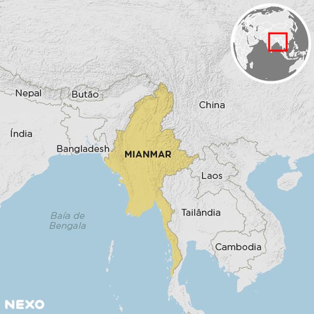 Mapa mostra localização de Mianmar