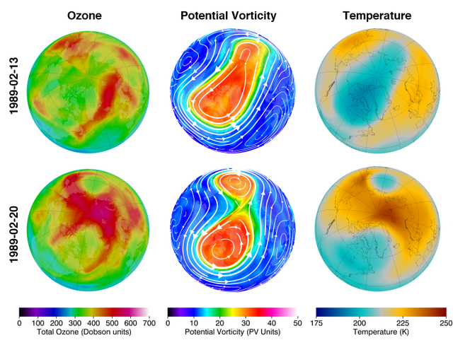 Exemplo feito pela Nasa de evento de aquecimento estratosférico repentino de 1989