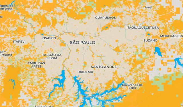 Detalhe da Grande São Paulo no mapa 'Aqui não mora ninguém'
