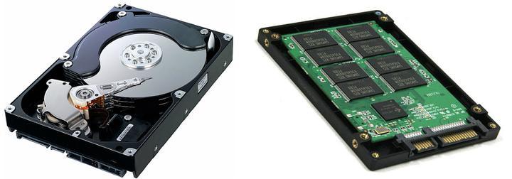 Um disco rígido (à esq.), ou HD, ao lado de uma memória SSD