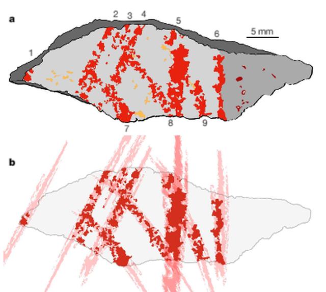 Desenhos indicando suposições sobre como os traços continuavam antes de a lasca ter se soltado de uma pedra maior