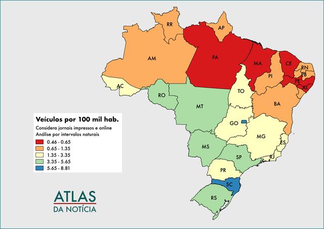 Mapa de jornais e sites de notícia proporcionalmente por estado, Atlas da Notícia