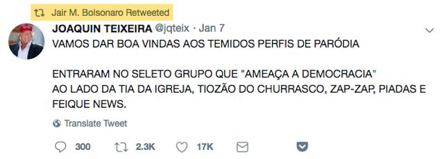 Post de Bolsonaro sobre perfis de paródia