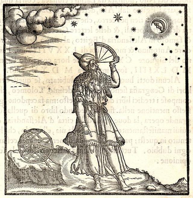 Ilustração do cientista grego Ptolomeu publicada em livro de Giordano Ziletti em 1564