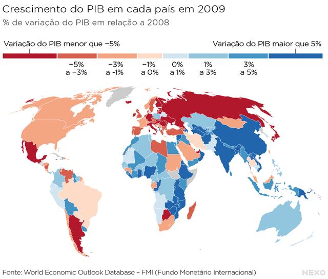 Crescimento do PIB em cada país em 1991. Mapa mostra, com ajuda de cores, quais foram os países mais atingidos pela recessão de 2009