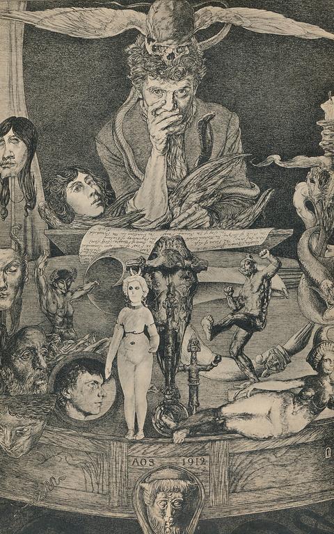 Ilustração com diversas formas humanas e outros elementos