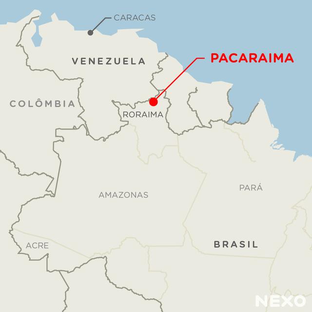 Mapa mostra localização de Pacaraima, na fronteira do Brasil com a Venezuela