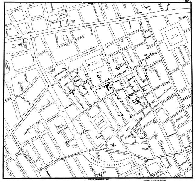 Mapa elaborado por Jon Snow para visualizar a propagação de cólera em bairro de Londres
