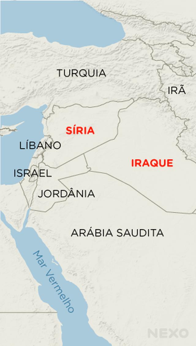 Mapa Síria e Iraque