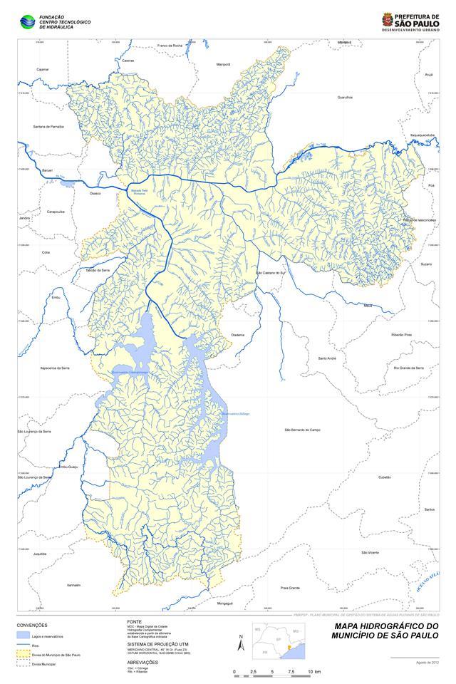 No mapa, é possível ver a quantidade de rios da cidade