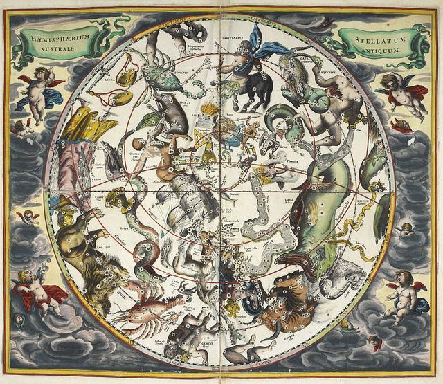 Atlas celeste, com constelações e os signos astrológicos, feito pelo cartógrafo Andreas Cellarius (1596-1665)