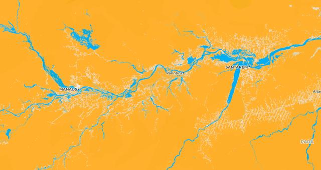 Detalhe do vale do Rio Amazonas no mapa 'Aqui não mora ninguém'