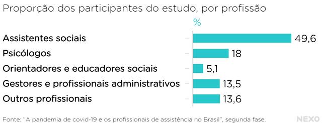 Assistentes sociais são quase metade dos participantes do estudo da FGV. Atrás deles vêm psicólogos, que somam 18% dos entrevistados. Depois, em menor proporção, há outras profissões (orientadores sociais, gestores, outros profissionais).