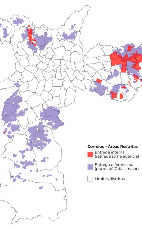 Mapa do site Medida SP mostra áreas em que Correios não entregam encomendas