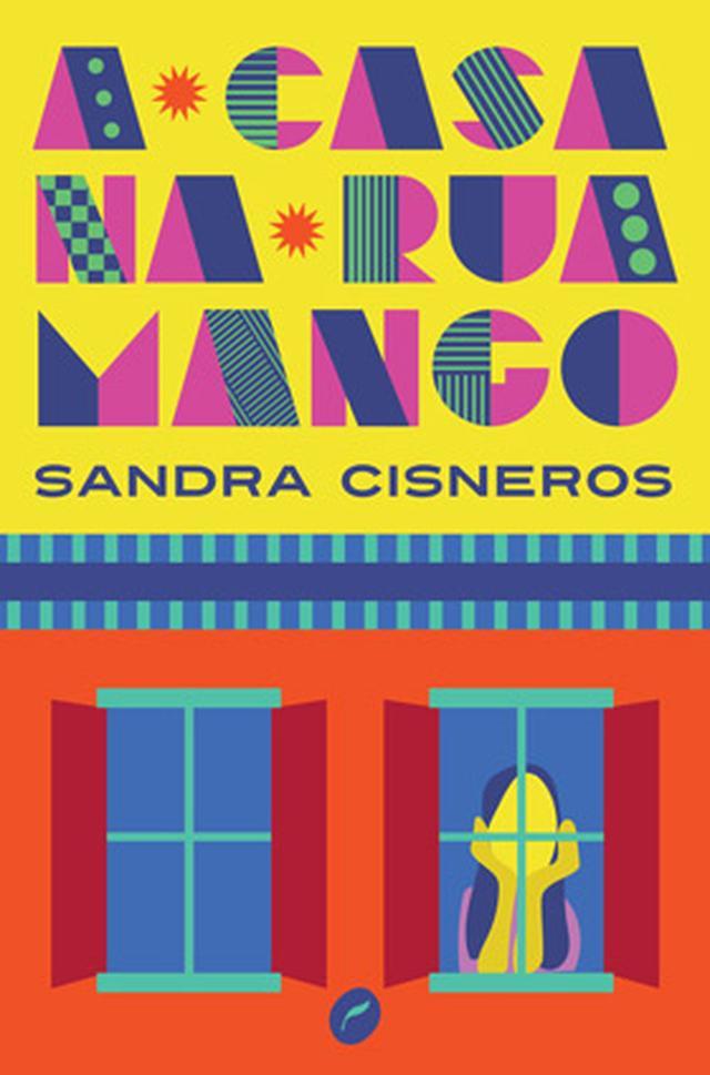 """Capa do livro """"A casa na Rua Mango"""", com uma ilustração colorida de uma menina olhando para fora da janela"""